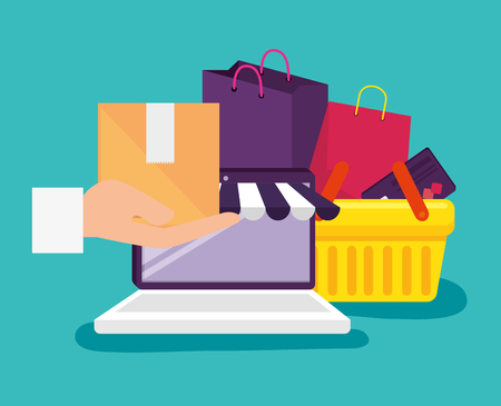 laptop technology to shopping online with basket and bags vector illustration