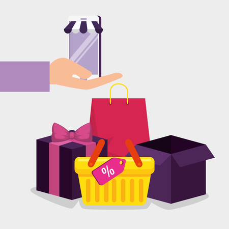 smartphone ecommerce technology with basket and packages vector illustration