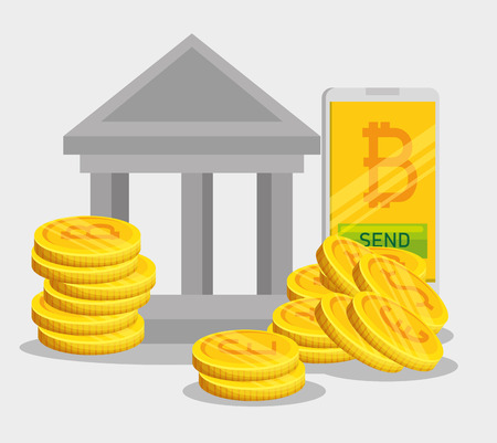 smartphone digital bitcoin currency and money vector illustration