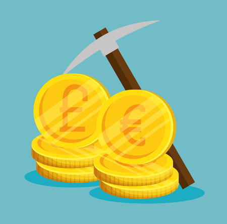 euro and pound coins to exchage for bitcoin currency vector illustration