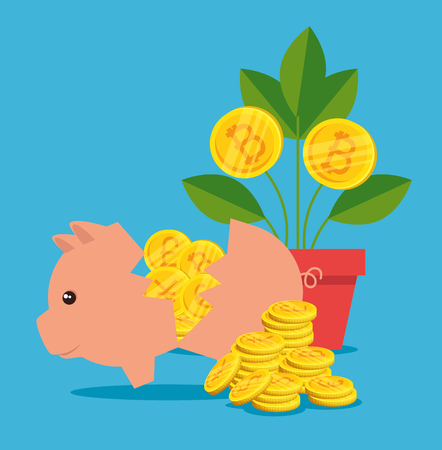 pig with international money and plant with bitcoin vector illustration