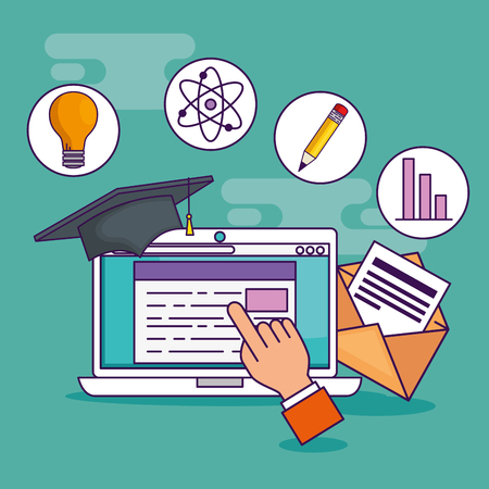 hand with laptop education technology and cap graduation vector illustration