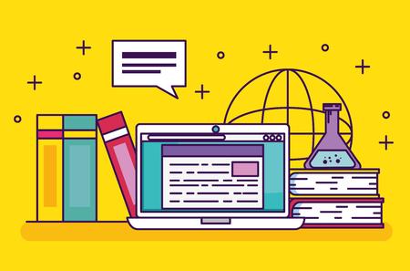 technologia laptopa z książkami edukacyjnymi i ilustracją wektorową kolby Erlenmeyera