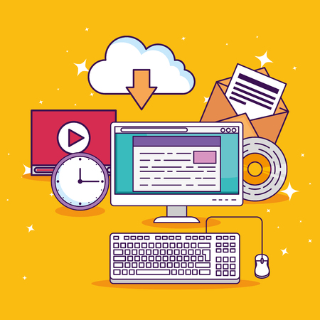 computer technology with document education and video vector illustration 일러스트