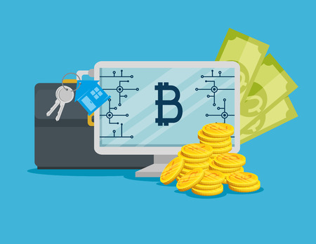 computer with bitcoin digital currency and money vector illustration