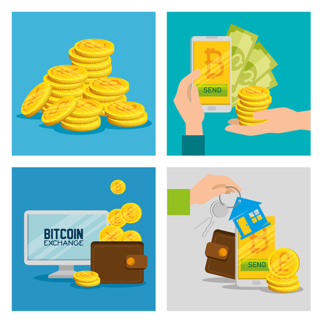 set electronic bitcoin currency to exchange money vector illustration  イラスト・ベクター素材