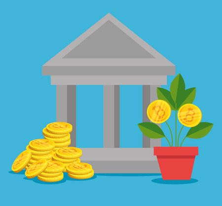 international coins and plant with bitcoin cryptocurrency vector illustration  イラスト・ベクター素材