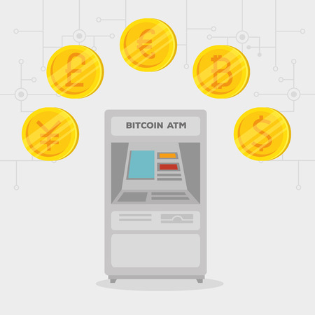 atm exchange bitcoin electronic international currency vector illustration  イラスト・ベクター素材
