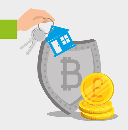 bitcoin electronic currency with shield and exchange house vector illustration Archivio Fotografico - 126788582