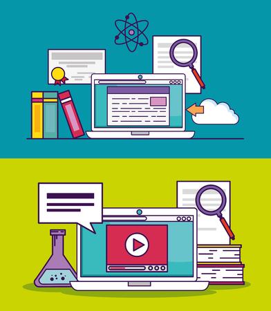 définir un document pour ordinateur portable et une éducation vidéo pour étudier l'illustration vectorielle