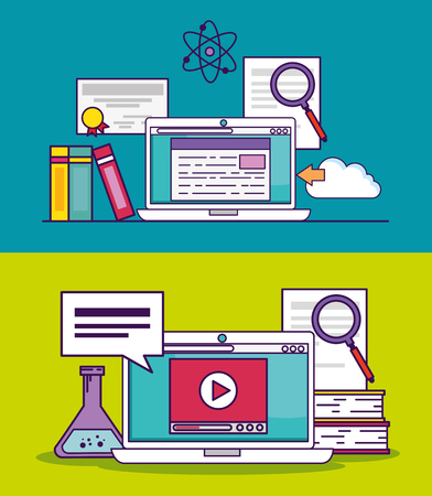 set laptop document and video education to study vector illustration