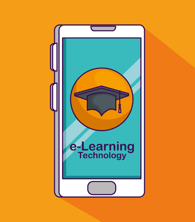 smartphone technology with elearning education to study vector illustration 일러스트