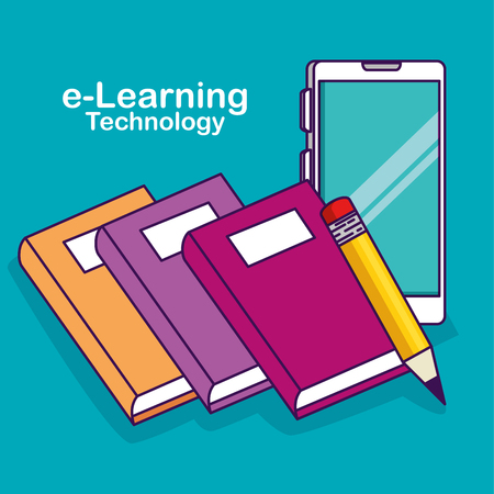 smartphone technology with elearning books and pencil vector illustration