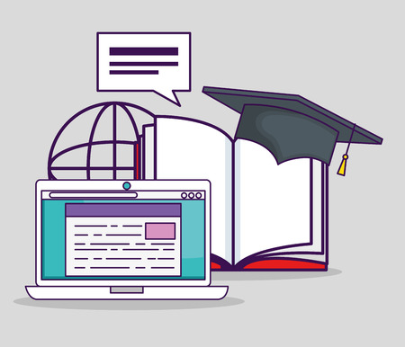 laptop technology with book and graduate cap vector illustration 일러스트