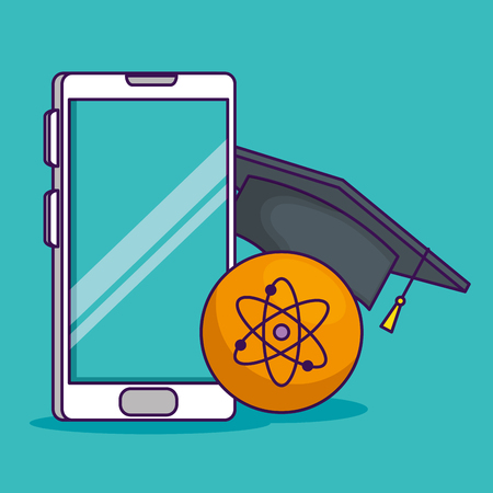 smartphone technology with cap graduation and atom vector illustration