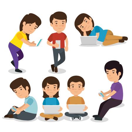 set children with laptop technology to education online vector illustration Vecteurs