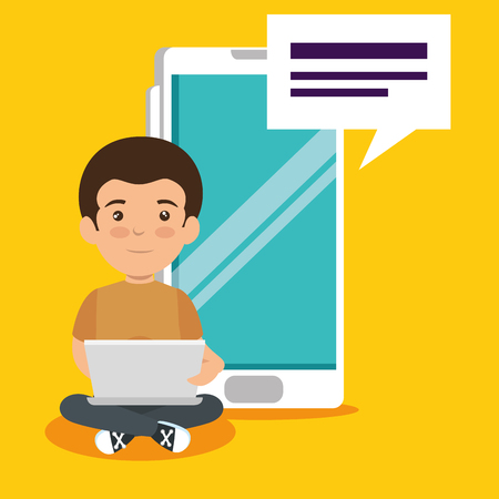 boy with education laptop and smartphone technology vector illustration