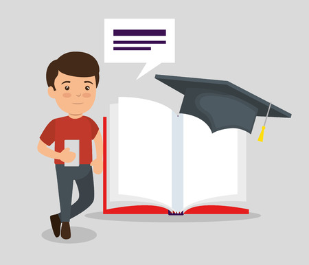 boy with book education and cap graduation vector illustration