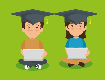 girl and boy wearing cap graduation and laptop vector illustration