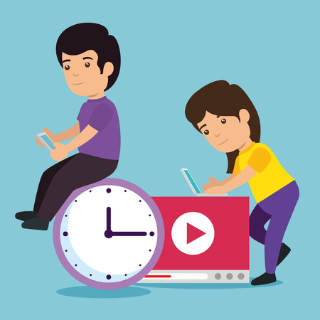boy and girl with education video and clock vector illustration