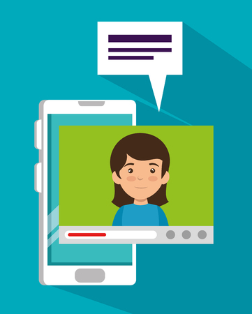girl with smartphone and video call chat bubble vector illustration