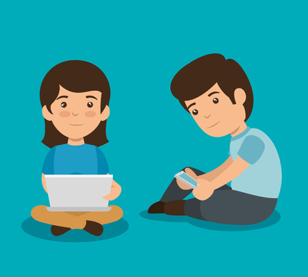 girl and boy with laptop and smartphone technology vector illustration Foto de archivo - 126788611
