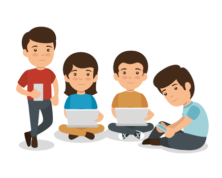 children with smartphone and laptop education technology vector illustration 일러스트