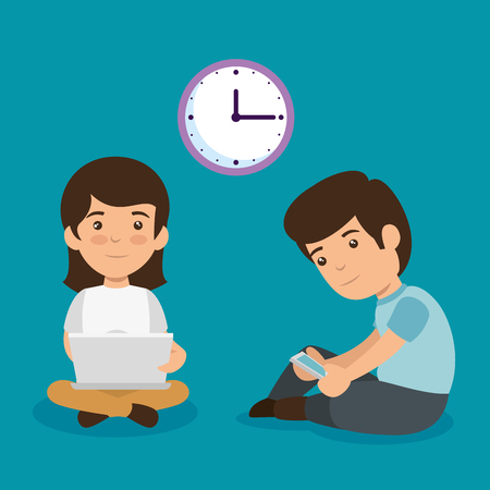 boy and girl with laptop and smartphone technology with clock vector illustration