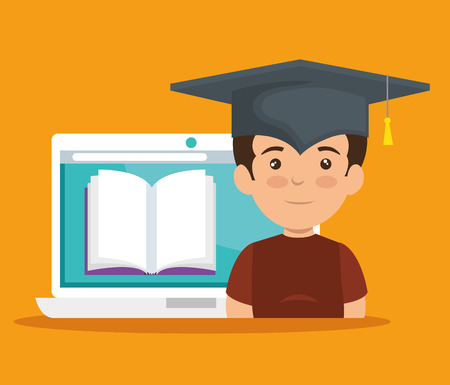 boy wearing cap graduation with elearning book vector illustration