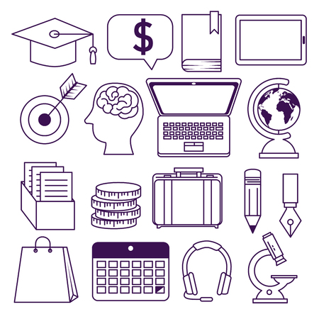 set elearning knowledge online education technology vector illustration Ilustração