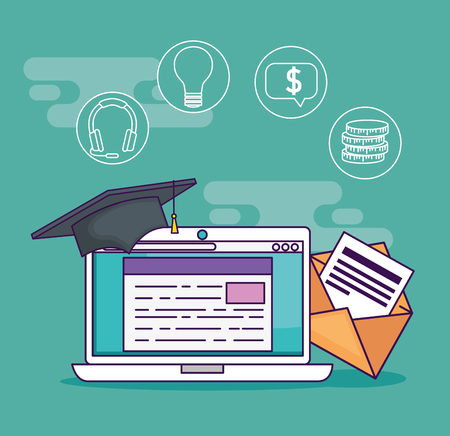 laptop with digital document and cap graduation vector illustration