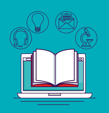 laptop technology with digital book knowledge vector illustration 일러스트
