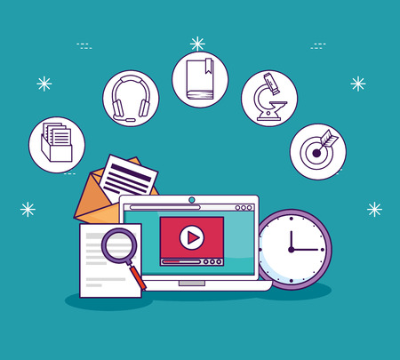 laptop technology with digital document and clock vector illustration 일러스트