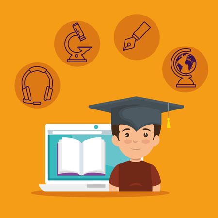 boy wearing cap graduation and laptop with digital book vector illustration