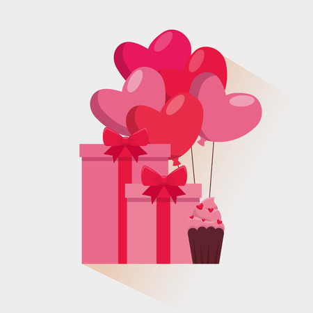 valentine present gift with hearts balloons and muffin vector illustration