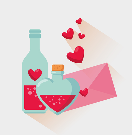 love potion bottle with valentine card message vector illustration