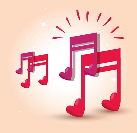 Musiknote mit Herz-zu-Rhythmus-Sound-Vektor-Illustration