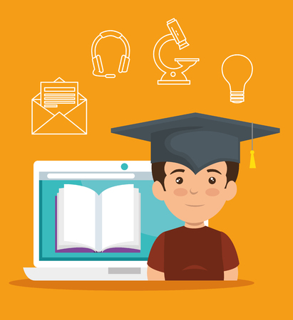 boy wearing cap graduation with laptop and digital book vector illustration