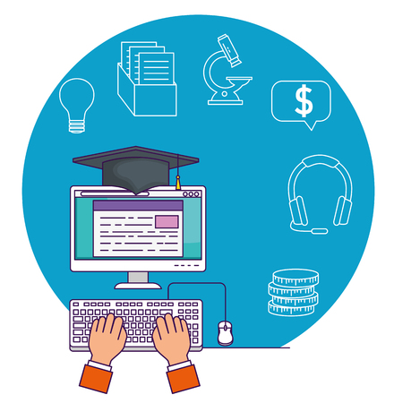 hand with computer technology and cap graduation vector illutration Ilustração