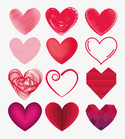 set hearts shape symbol of love and passion vector illustration