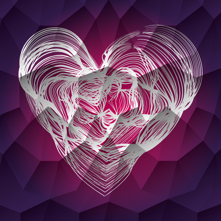 heart shape decoration and love symbol vector illustration