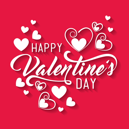 happy valentine day with hearts decoration vector illustration