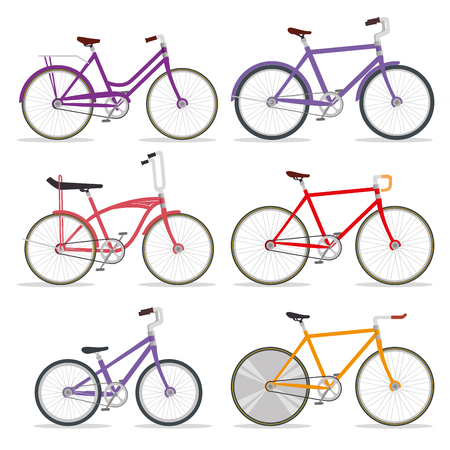 set bicycle transport with petal and chain vector illustration 일러스트