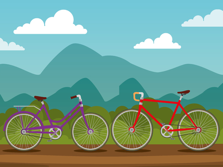 bicycles design transport with wheel and chain vector illustration Illustration