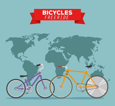 bicycles transport vehicle to freeride in the world vector illustration Ilustração