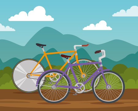 bicycles lifestyle transport vehicle to ride vector illustration