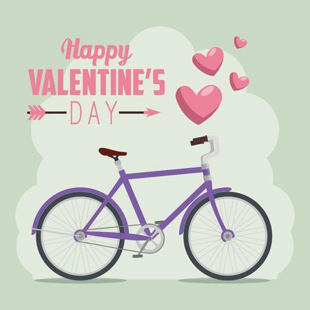 bicycle transport to valentine day celebration vector illustration