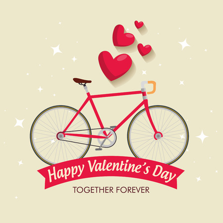 valentine day celebration with bicycle vehicle vector illustration