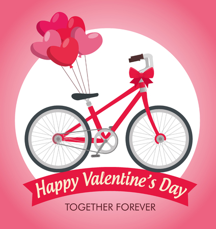 valentine day celebration with bicycle transport vector illustration