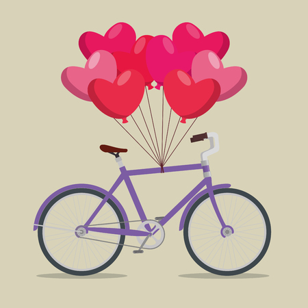 bicycle transport vehicle with hearts balloons vector illustration